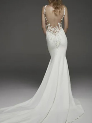 cheap Wedding Dresses-Mermaid / Trumpet Wedding Dresses Jewel Neck Court Train Lace Charmeuse Regular Straps Formal Plus Size with Lace Insert Appliques 2020