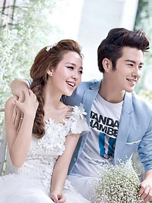 cheap Evening Dresses-A-Line Wedding Dresses One Shoulder Floor Length Tulle Regular Straps Plus Size with Appliques 2020