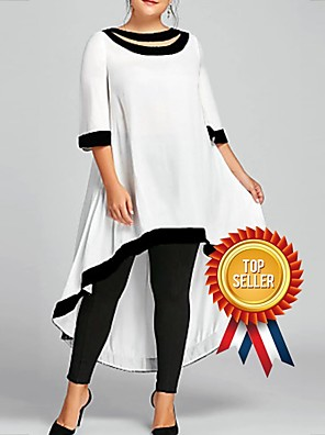cheap Plus Size Dresses-Women's Plus Size Midi Dress - 3/4 Length Sleeve Backless Spring & Summer Sexy 2020 Wine White Black Blue Navy Blue S M L XL XXL XXXL XXXXL XXXXXL