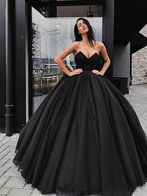 cheap Prom Dresses-Ball Gown Wedding Dresses Sweetheart Neckline Floor Length Organza Satin Strapless Black Modern with Draping 2020