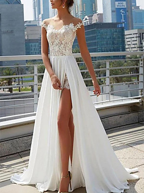 cheap Wedding Dresses-A-Line Wedding Dresses Off Shoulder Sweep / Brush Train Lace Satin Cap Sleeve Formal Boho Plus Size with Split Front 2020