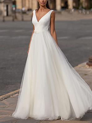 cheap Prom Dresses-A-Line Wedding Dresses V Neck Floor Length Tulle Regular Straps Plus Size with Appliques 2020