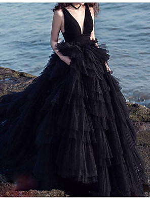 cheap Wedding Dresses-A-Line Wedding Dresses V Neck Court Train Lace Spaghetti Strap Beach Black Modern with Lace Insert 2020