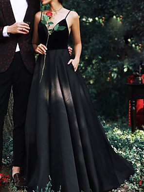 cheap Wedding Dresses-A-Line Wedding Dresses V Neck Floor Length Lace Spaghetti Strap Formal Black with Lace Insert 2020