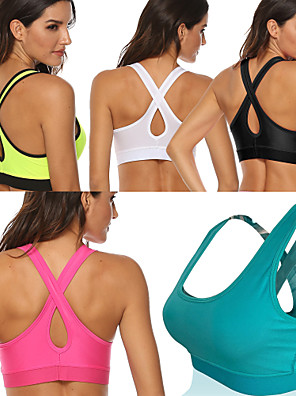 cheap Bras-Women's Sports Bra Medium Support Removable Pad Wireless Fashion White Black Light Green Fuchsia Green Fitness Gym Workout Running Bra Top Sport Activewear Breathable High Impact Moisture Wicking