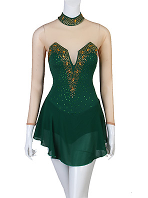 cheap Ice Skating Dresses , Pants & Jackets-Figure Skating Dress Women's Girls' Ice Skating Dress Dark Green Patchwork Stretch Yarn High Elasticity Competition Skating Wear Crystal / Rhinestone Figure Skating