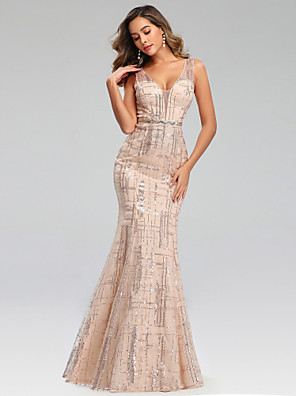 cheap Evening Dresses-Mermaid / Trumpet Sparkle Pink Engagement Formal Evening Dress V Neck Sleeveless Floor Length Polyester with Sequin Pattern / Print 2020