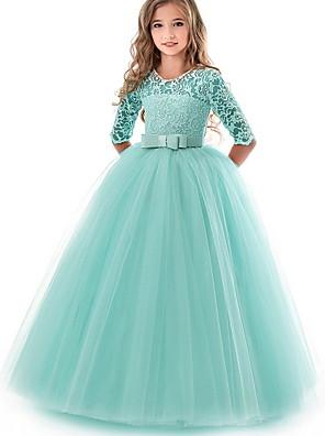 お買い得  女児 ドレス-子供 女の子 ソリッド ドレス パープル