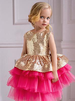 cheap Baby Girls'  Dresses-Baby Girls' Basic Color Block Sleeveless Dress Fuchsia
