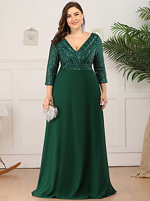 cheap Prom Dresses-Sheath / Column Mother of the Bride Dress Elegant Plus Size V Neck Floor Length Polyester 3/4 Length Sleeve with Sequin 2020