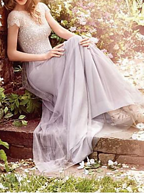 cheap Bridesmaid Dresses-A-Line V Neck Floor Length Lace / Tulle Bridesmaid Dress with Appliques / Ruching