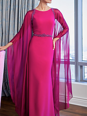 cheap Evening Dresses-Sheath / Column Mother of the Bride Dress Plus Size Jewel Neck Floor Length Chiffon Charmeuse Long Sleeve with Ruching 2020