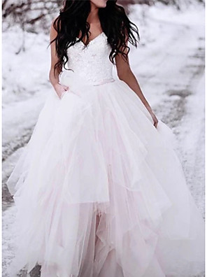 cheap Prom Dresses-A-Line Wedding Dresses V Neck Floor Length Lace Tulle Spaghetti Strap Romantic Plus Size with 2020