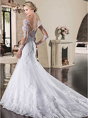 cheap Cocktail Dresses-Mermaid / Trumpet Wedding Dresses Bateau Neck Court Train Lace Tulle Lace Over Satin Long Sleeve Sexy See-Through Backless Illusion Sleeve with Appliques 2020
