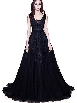 cheap Wedding Dresses-A-Line Wedding Dresses V Neck Court Train Lace Tulle Regular Straps Black with Appliques 2020