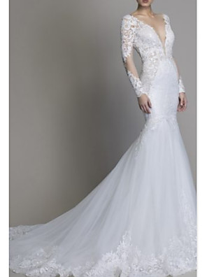 cheap Wedding Dresses-Mermaid / Trumpet Wedding Dresses V Neck Court Train Lace Tulle Long Sleeve Formal Plus Size Illusion Sleeve with Lace Insert Appliques 2020