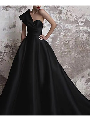 cheap Wedding Dresses-A-Line Wedding Dresses One Shoulder Court Train Satin Regular Straps Formal Plus Size Black Modern with Draping 2020