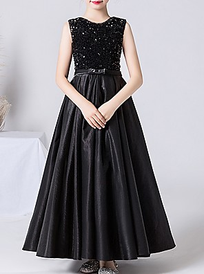 cheap Junior Bridesmaid Dresses-A-Line Jewel Neck Ankle Length POLY / Sequined Junior Bridesmaid Dress with Bow(s)