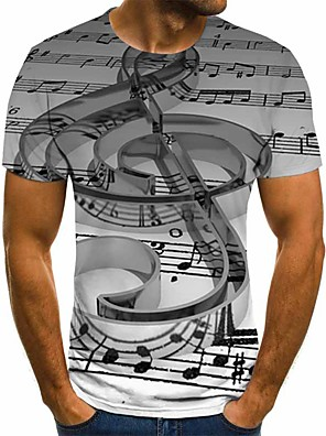 cheap Men's Tees & Tank Tops-Men's Daily Plus Size T-shirt Geometric 3D Graphic Pleated Print Short Sleeve Tops Streetwear Exaggerated Round Neck Gray