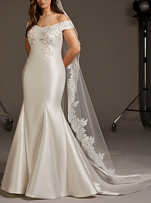 cheap Wedding Dresses-Mermaid / Trumpet Wedding Dresses Off Shoulder Sweep / Brush Train Lace Satin Short Sleeve Romantic Plus Size with Embroidery 2020