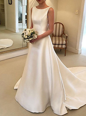 cheap Wedding Dresses-A-Line Wedding Dresses V Neck Court Train Satin Spaghetti Strap Formal Plus Size with Bow(s) Draping 2020
