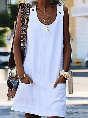 cheap Summer Dresses-Women's Sheath Dress Short Mini Dress - Sleeveless Geometric Elegant White Blue Yellow Orange S M L XL XXL XXXL XXXXL XXXXXL