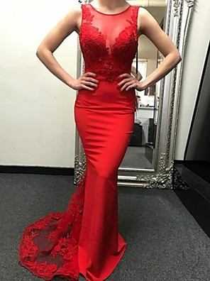cheap Wedding Dresses-Mermaid / Trumpet Wedding Dresses Jewel Neck Sweep / Brush Train Polyester Regular Straps Romantic Plus Size Red with Lace 2020