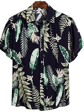 cheap Evening Dresses-Men's Shirt Floral Leaf Short Sleeve Tops Tropical Black
