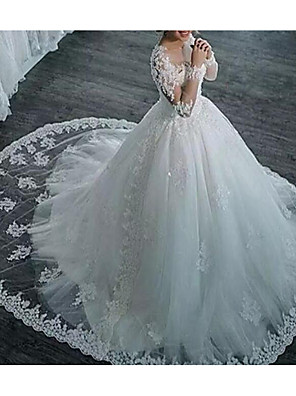 cheap Wedding Dresses-A-Line V Neck Sweep / Brush Train Tulle Long Sleeve Formal Plus Size / Illusion Sleeve Wedding Dresses with Appliques 2020