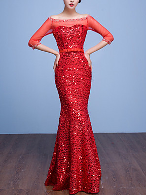 cheap Mother of the Bride Dresses-Mermaid / Trumpet Sparkle Red Engagement Formal Evening Dress Off Shoulder Half Sleeve Floor Length Polyester with Crystals Sequin 2020