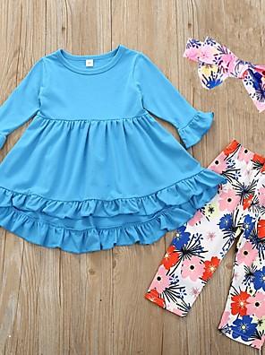 cheap Girls' Dresses-Kids Girls' Basic Floral Long Sleeve Clothing Set Light Blue