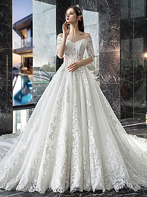 cheap Wedding Dresses-A-Line Off Shoulder Court Train Lace Sleeveless Casual Plus Size Wedding Dresses with Lace Insert 2020