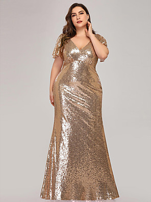 cheap Prom Dresses-Mermaid / Trumpet Sexy Sparkle Wedding Guest Engagement Prom Dress V Neck Short Sleeve Floor Length Sequined with Sequin 2020