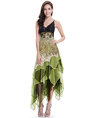 cheap Prom Dresses-A-Line Flirty Cocktail Party Nightclub Dress Spaghetti Strap Sleeveless Asymmetrical Lace Tulle with Sequin 2020