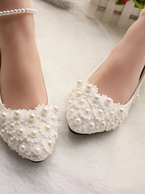 cheap Evening Dresses-Women's Wedding Shoes Glitter Crystal Sequined Jeweled Flat Heel Round Toe PU Winter White