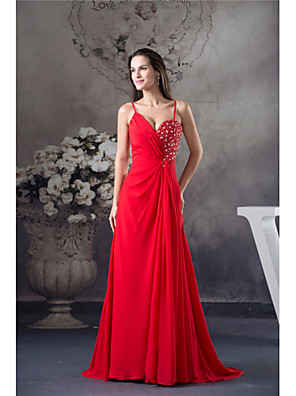 cheap Party Dresses-A-Line Elegant Formal Evening Dress Spaghetti Strap Sleeveless Court Train Chiffon with Beading 2020