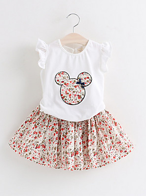 cheap Girls' Dresses-Kids Girls' Basic Print Short Sleeve Clothing Set White