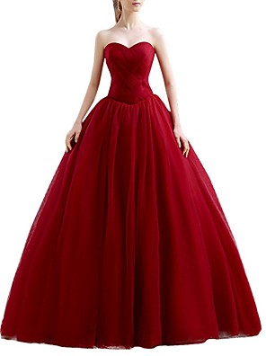 cheap Wedding Dresses-Ball Gown Wedding Dresses Sweetheart Neckline Floor Length Polyester Sleeveless Romantic Plus Size Red with Ruched 2020