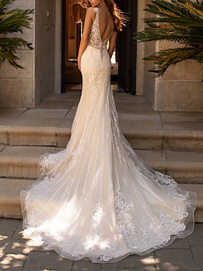 cheap Wedding Dresses-A-Line Wedding Dresses V Neck Court Train Polyester Sleeveless Formal Boho Plus Size with Lace Insert Appliques 2020