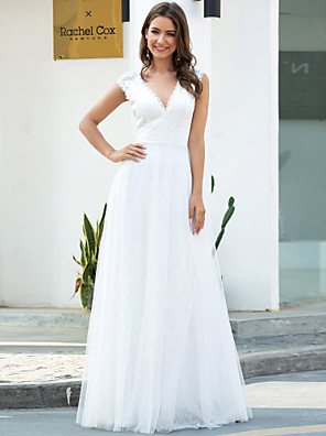 cheap Wedding Dresses-A-Line Wedding Dresses V Neck Floor Length Lace Tulle Short Sleeve Simple Casual with Lace 2020