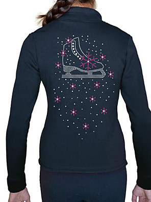 cheap Ice Skating Dresses , Pants & Jackets-Figure Skating Top Women's Girls' Ice Skating Jacket Top Black Spandex High Elasticity Training Competition Skating Wear Crystal / Rhinestone Long Sleeve Ice Skating Figure Skating