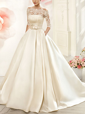 cheap Wedding Slips-A-Line Wedding Dresses V Neck Court Train Tulle Half Sleeve Glamorous See-Through Illusion Sleeve with Appliques 2020