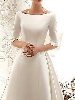 cheap Evening Dresses-A-Line Wedding Dresses Bateau Neck Court Train Satin Half Sleeve Vintage Illusion Detail Plus Size with Bow(s) Lace Insert 2020