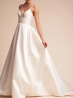 cheap Prom Dresses-A-Line Wedding Dresses V Neck Sweep / Brush Train Satin Spaghetti Strap Formal Vintage Plus Size with Draping 2020