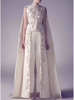 cheap Wedding Dresses-Jumpsuits Wedding Dresses Jewel Neck Watteau Train Satin Regular Straps Romantic Plus Size Modern Cape with Appliques 2020