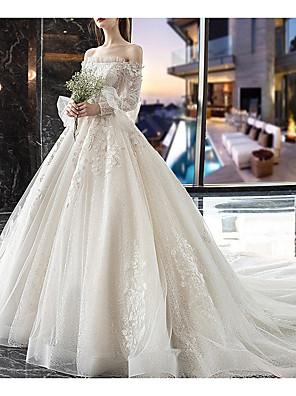 cheap Wedding Dresses-A-Line Off Shoulder Court Train Lace / Tulle Long Sleeve Casual Plus Size / Illusion Sleeve Wedding Dresses with Lace Insert 2020