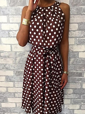 cheap Casual Dresses-Women's Sheath Dress - Sleeveless Polka Dot Elegant Slim Wine Black Yellow Green Navy Blue Gray S M L XL XXL XXXL XXXXL XXXXXL