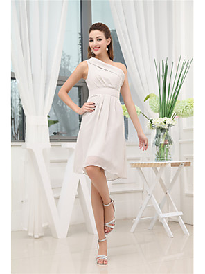 cheap Romantic Lace Dresses-A-Line Elegant Party Wear Wedding Guest Cocktail Party Dress One Shoulder Sleeveless Knee Length Chiffon with Pleats 2020