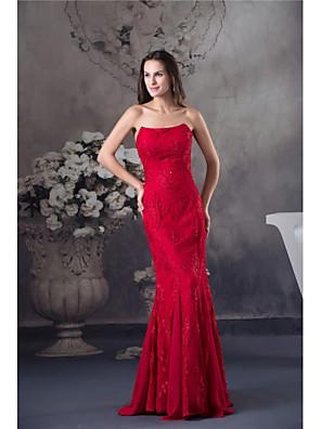 cheap Prom Dresses-Mermaid / Trumpet Elegant Formal Evening Dress Strapless Sleeveless Floor Length Chiffon Lace with Beading 2020