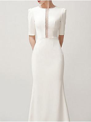 cheap Wedding Dresses-Mermaid / Trumpet Wedding Dresses Jewel Neck Sweep / Brush Train Satin Short Sleeve Formal Vintage Plus Size with Draping 2020